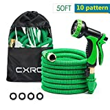 CXRCY Expandable Garden hoses, double latex cores 3 times expanded car wash hoses, 3/4 inch solid brass joints, extra-strength fabrics - Flexible expansion metal hose with 10 Features