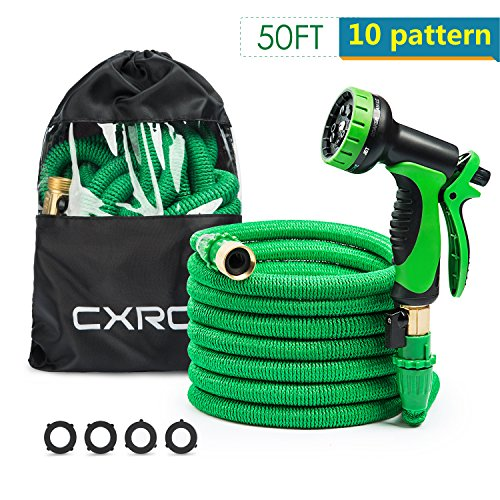 CXRCY Expandable Garden hoses, brand new double latex cores 3 times expanded car wash hoses, 3/4 inch solid brass joints, extra-strength fabrics - Flexible expansion metal hose with 10 Features (Mole Repeller)