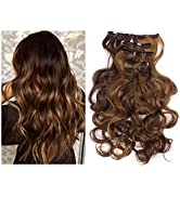 """Full Head Clip in Hair Extensions Curly Wavy Synthetic Hairpiece 7Pcs 20"""" Heat Friendly Fiber Dar..."""