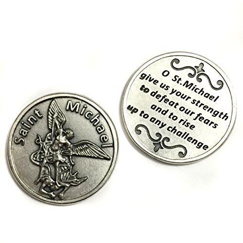 Saint St Michael Archangel Pocket Token Coin Protection Protect Catholic Charm Medal Religious Gift 1 1/8