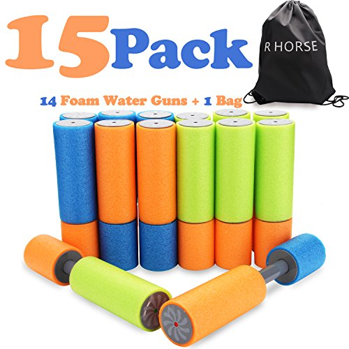 R  HORSE 14 Pack of Small Foam Water Guns Super Light Super Soaker Foam Water Shooter Toys for Swimming Pool Beach Garden Boys Girls Adults 22 Feet Range with Carrying Bag