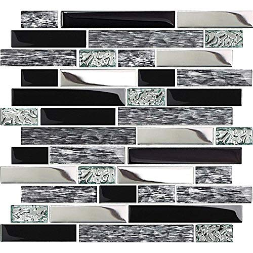 TST Glass Metal Tiles Art Mosaic Silk Black Crystal Glass Chrome Silver Steel Accent Wall Border Kitchen Bath Backsplash Tile TSTNB12 (1 Sample 12x12 Inches)
