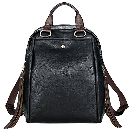 Fashion Backpack Purse for women PU Leather Shoulder Bags Travel Daypack Casual Rucksack for ladies (black) by Welavila