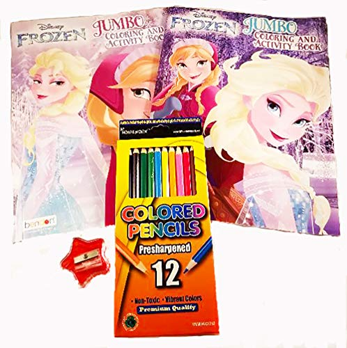 Stuff N Junk 2 Disney Frozen Jumbo Coloring and Activity Bundle(4) 2 Jumbo Coloring/ Activity Books, 12pk Color Pencils (Plus a Free Pencil Sharpener)