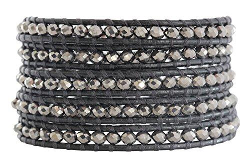 Chan Luu Crystal Coated Metallic Grey Gray Leather Wrap Bracelet bs-3469 by Chan Luu