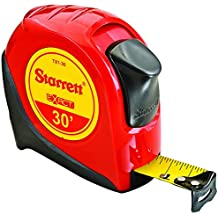 "Starrett KTX1-30-N-SP01 Exact Tape Measure, 1"" Wide x 30' Long, Graduated in 1/16"", with Over molding for Improved Grip"