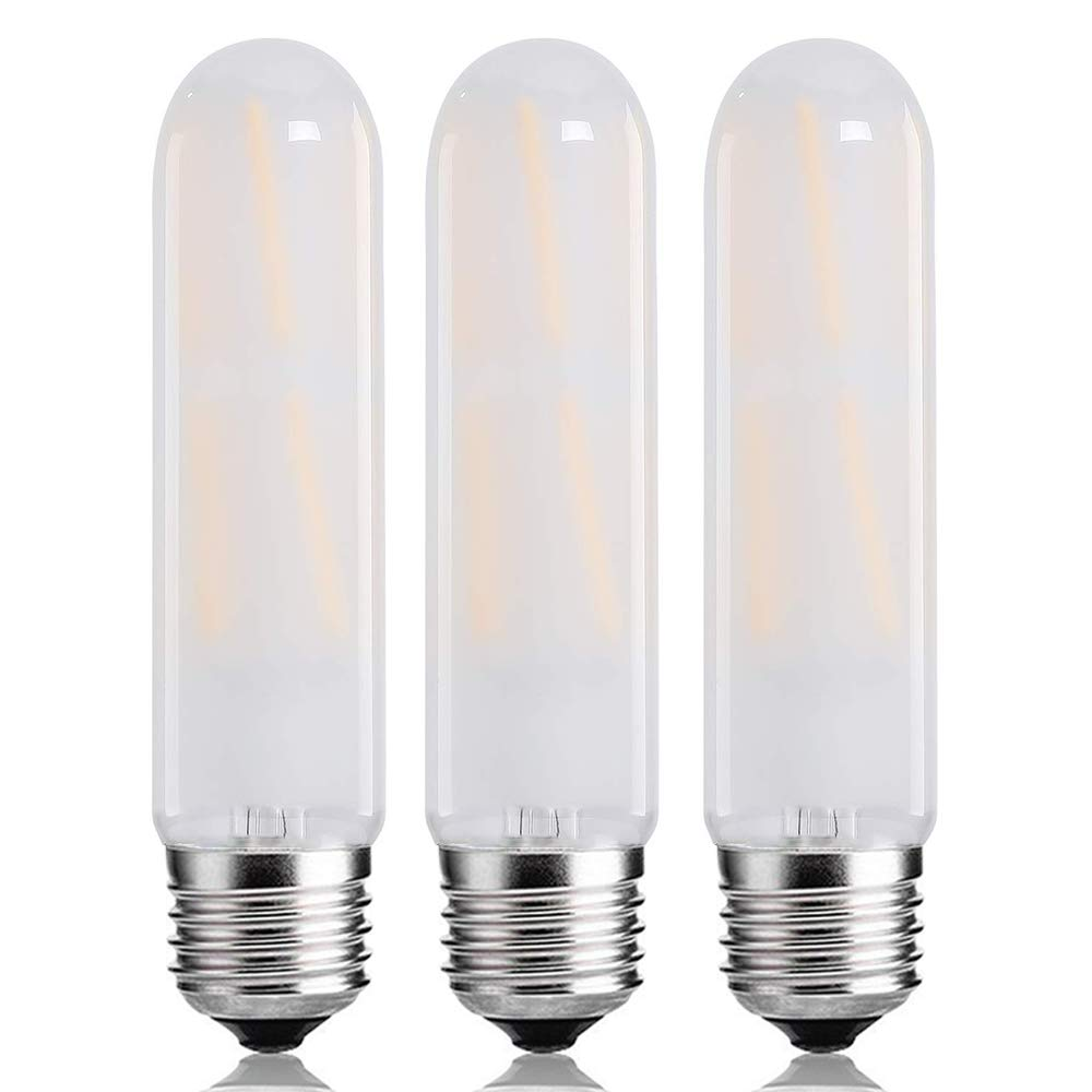 T10 Frosted Bulbs,8W Dimmable Edison Led Tubular Bulb,E26 Medium Base Lamp 75 Watt Incandescent Bulb Equivalent 3000K Soft White,Frosted Glass Shape Appliance Light Bulbs,3 Pack.