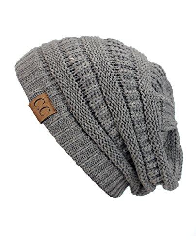 Trendy Warm Chunky Soft Stretch Cable Knit Beanie Skully, Light Melange