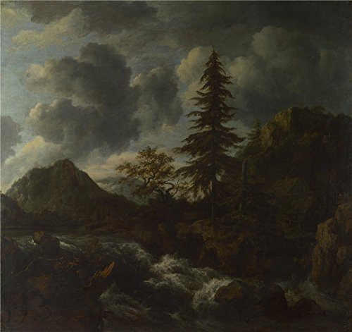 Oil Painting 'Jacob Van Ruisdael A Torrent In A Mountainous Landscape' 10 x 11 inch / 25 x 27 cm , on High Definition HD canvas prints is for Gifts And Bar, Home Office And Kids Room Decoration, fast