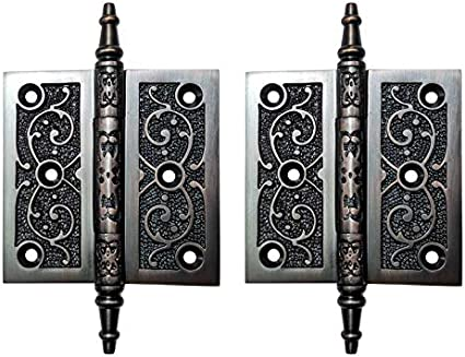 Supplied as 2 Pieces per Pack, with Matching Screws 3 x 3, Black Powder Coated Adonai Hardware Brass Decorative Hinge