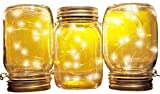 Mason Jar Solar Lights   3-Pack   Jars, Inserts, Hangers Included   15 Warm White LED Lights Per Jar   Fairy String Firefly Regular Mouth Patio Lighting For Sale