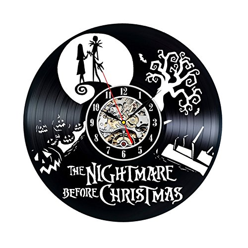 Vinyl Record Clock Nightmare Before Christmas Wall Décor