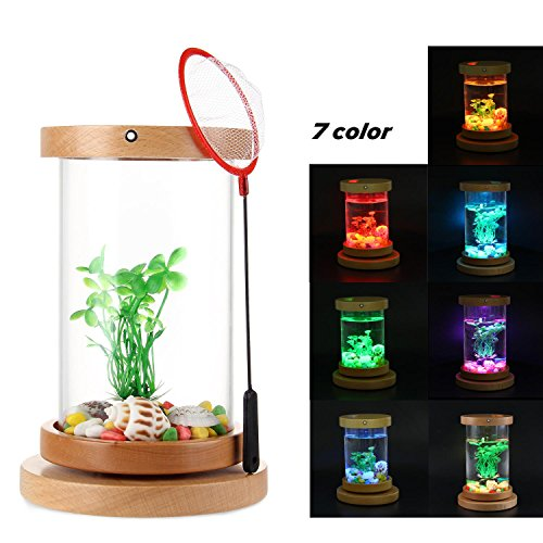 Teepao Betta Fish Aquarium, Desktop Micro Landscape Rotatable Cylinder Betta Aquarium Kit With 7 Color Led Lighting, Wood Base & Rechargeable, Great Table Decor For Home Office Store, 0.27 ()