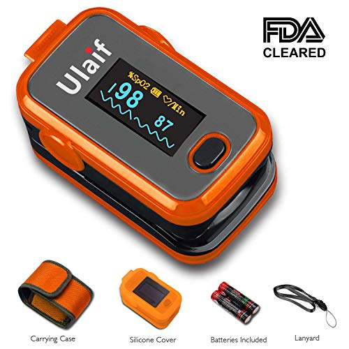 Ulaif Fingertip Pulse Oximeter with OLED Display Portable Oximetry Blood Oxygen Saturation Monitor SpO2 Finger Pulse Oximeter Readings with Carrying Case Silicon Case Lanyard and Batteries ()
