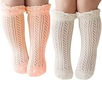 SZTARA Knee-High Hollow Out non-skid socks Knitting Socks Suitable for 0-24 Months Baby Girls (Light Pink +White)