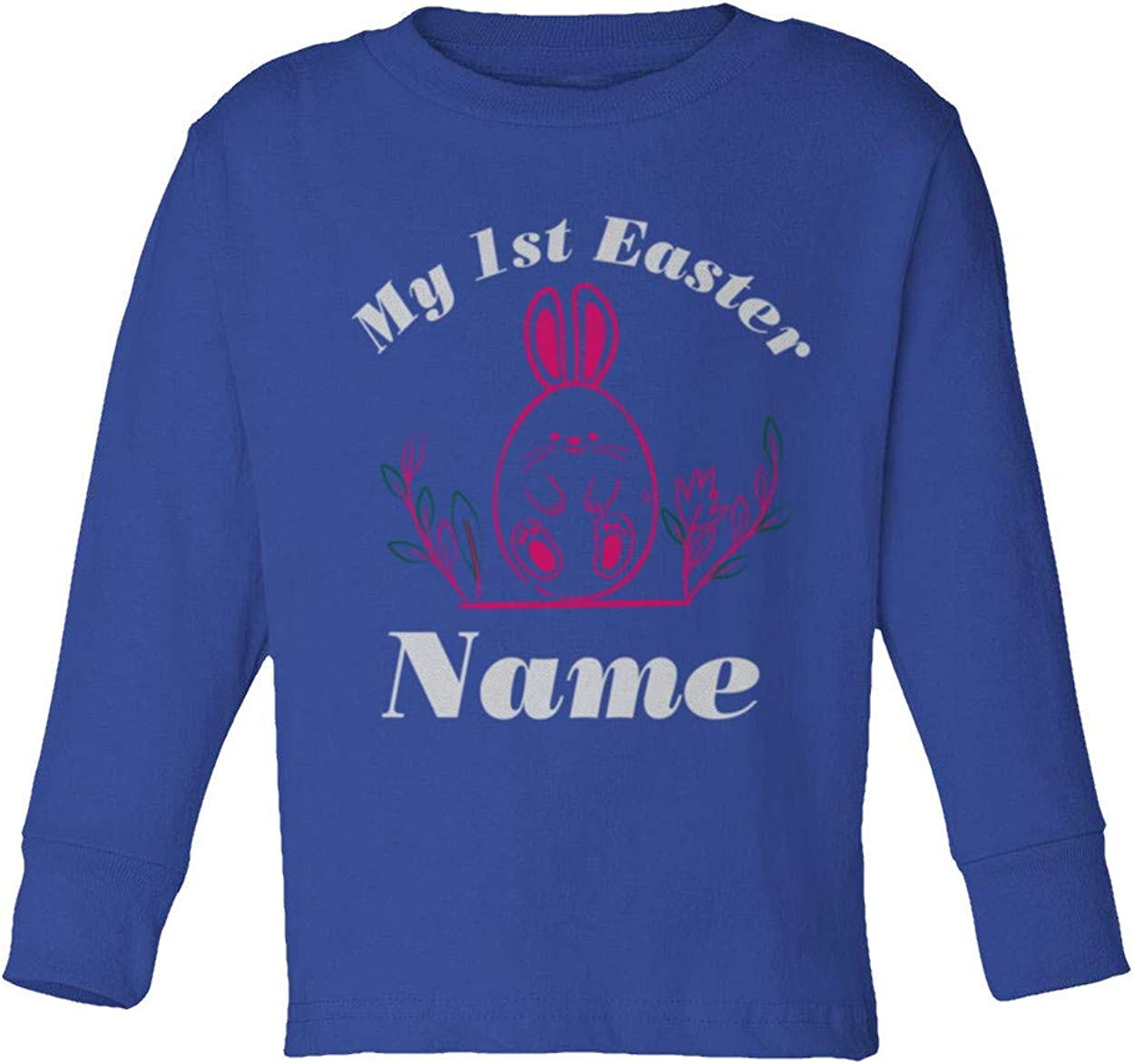 My First Easter Girls Boys Personalized Bunny Toddler Custom Long Sleeve T-Shirt