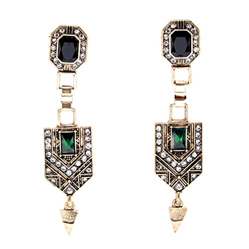 Vintage Embedded Emerald Crystal Geometr - Coro Rhinestone Earrings Shopping Results