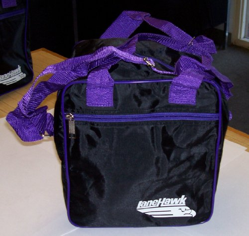 LaneHawk 1 Ball Mini Tote Bowling Bag Black/Purple Free Shipping!!