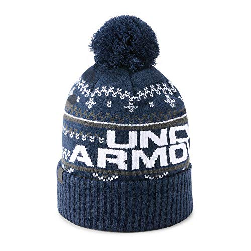 Under Armour Winter Beanie - Under Armour Men's Retro Pom 3.0, Academy (408)/White, One Size
