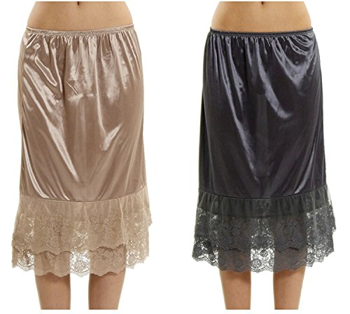 Lace Slip Half Slip - Women's Long Double Layered Lace Satin Skirt Extender Underskirt Half Slip 2 Pieces Combo Pack