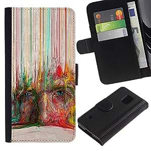 Be Good Phone Accessory // Caso del tirón Billetera de Cuero Titular de la tarjeta Carcasa Funda de Protección para Samsung Galaxy S5 V SM-G900 // Crayon Art Face Modern Deep Painting
