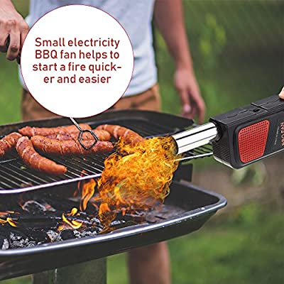 GLOGLOW BBQ Blower Portable Handheld Electric Barbecue Fan Air Blower Outdoor Camping Picnic Grill Cooking Tool