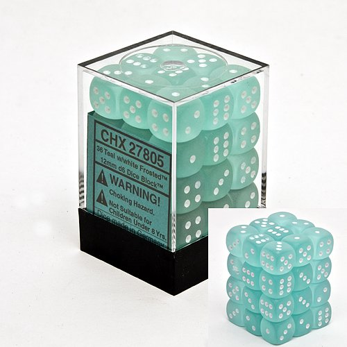 Chessex Dice d6 Sets: Frosted Teal with White - 12mm Six Sided Die (36) Block of Dice