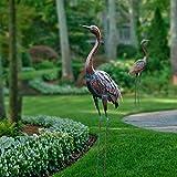 Chisheen Outdoor Crane Statues and Sculptures Metal Standing Art Peice for Garden Yard Large Size
