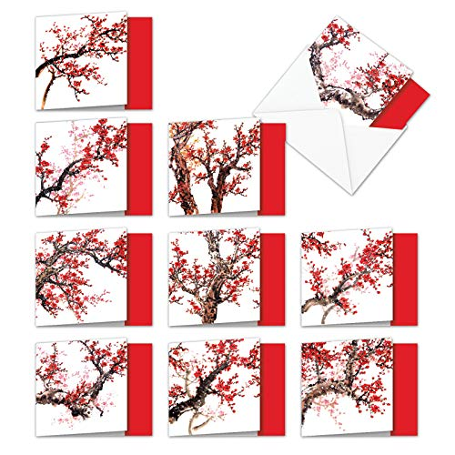 10 Assorted 'Cheers and Cherries' Blank All Occasion Note Cards 4 x 5.12 inch - Images of Pink and Red Cherry Blossom Tree Paintings w/Envelopes - Box of Traditional Asian Notecards MQ5072OCB-B1x10 (Square Chinese Red Envelopes)