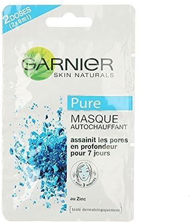 Garnier Skin Naturals - Mascarilla autocalentante de dos dosis – pieles mixtas con tendencia grasa – 2 x 6 ml