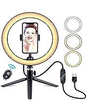 Selfie-licht ringlicht met statief mobiele telefoon afstandsbediening 10 inch LED-ringlamp, 3 verlichtingsmodi en 10 instelbare helderheidsniveaus, USB-opladen, live licht voor mooie foto's of videoopnamen