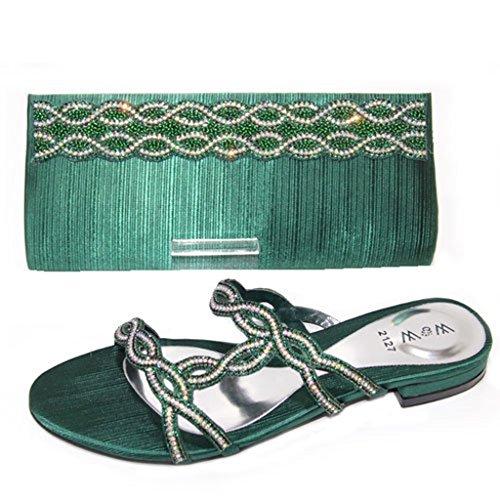 W & W Frauen Damen Kristall mit Schuhe & passender Tasche Größe (Roxi & Maxi) Grün