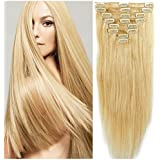 "FUT Hair extensions Clip in Human Hair Extensions 16""-22"" 8pcs Full Head 18clip Long Soft Silky Straight Natural Hairpiece for Women Fashion"