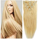 FUT Hair extensions Clip in Human Hair Extensions 16''-22'' 8pcs Full Head 18clip Long Soft Silky Straight Natural Hairpiece for Women Fashion