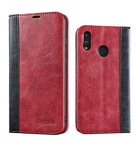 Huawei P20 Lite ケース 手帳型 耐衝撃 スタンド機能 複数 カード収納 マグネットなし 磁石なし 高機能性 財布型カバー 軽量 p20 lite ケース ワインレッド