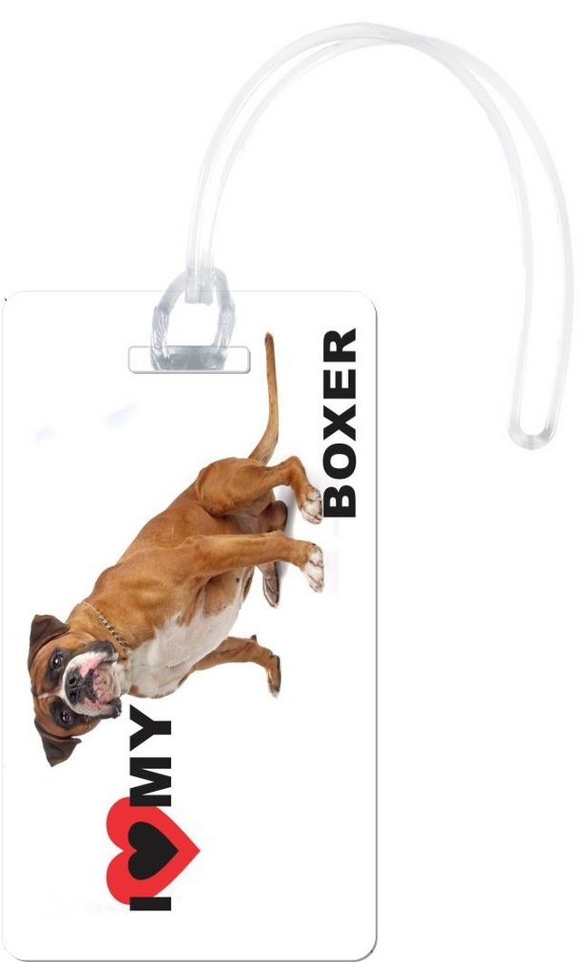 Rikki Knight I Love My Boxer Dog Design Flexi Luggage Tags, White