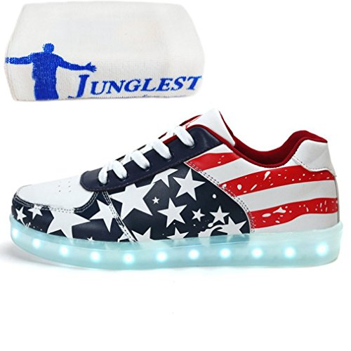 (Present:small towel)JUNGLEST® 7 Colors Stars Led Shoes Light Up For Adults Blue