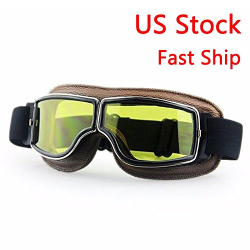 LEAGUE&CO Vintage Motorcycle Aviator Pilot Ski Cruiser Scooter Goggles Leather Eyewear Retro Driving Glasses (Amber Lens Brown - Eyewear And Co