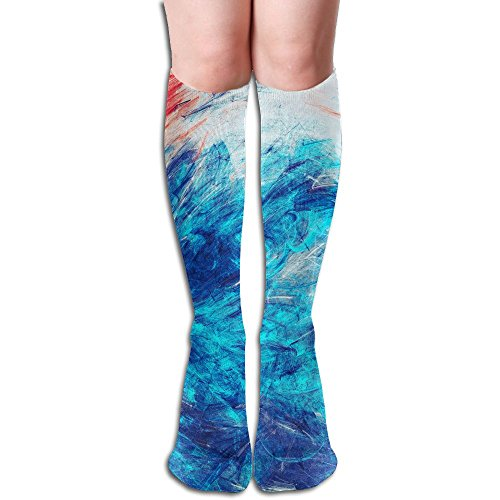 FYW Blue Sea Wave Artistic Splashes Of Bright Paints Abstract Color Background For Wallpaper Mens & Womens Knee High Socks For Running Edema Diabetic Artistic Waves