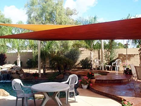 amazoncom new deluxe rectangle square sun sail shade canopy top cover sand green red blue red outdoor canopies patio lawn u0026 garden - Sun Sail Shade