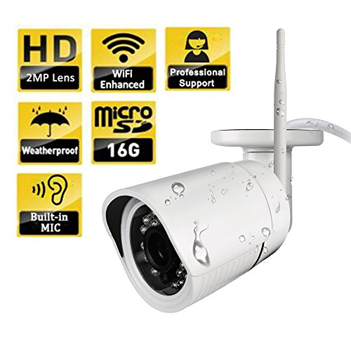SpyGear-Ouvis C2 HD Waterproof WiFi Outdoor Wireless Security Camera, Free  SD Card, Internet Access,True Day Night Vision,720P,Email Alerts,Built-in