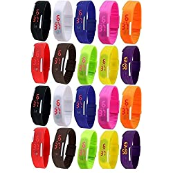 Pappi-Haunt LED Digital Wrist watches LED Bands Birthday Party Return Gifts Birthday Gifts for kids kid favourite gifts for boys gifts for girls Set of 20 Multicolor LED Digital Bands LED Gift watches