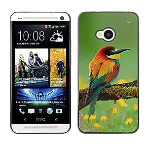 PC/Aluminum Funda Carcasa protectora para HTC One M7 birds floral spring nature summer beak / JUSTGO PHONE PROTECTOR