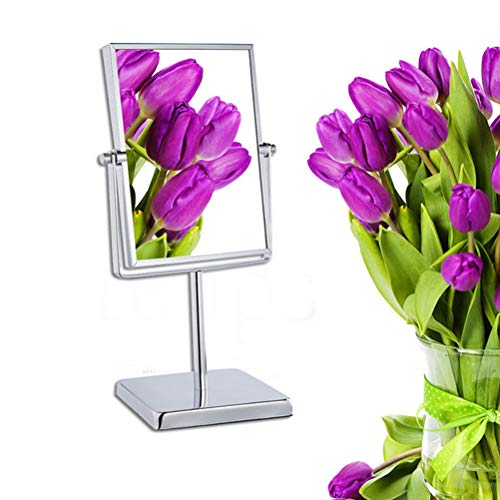 Makeup mirror Square Double-Sided, 3X Magnification 360°Rotating Anti-Skid for Makeup -