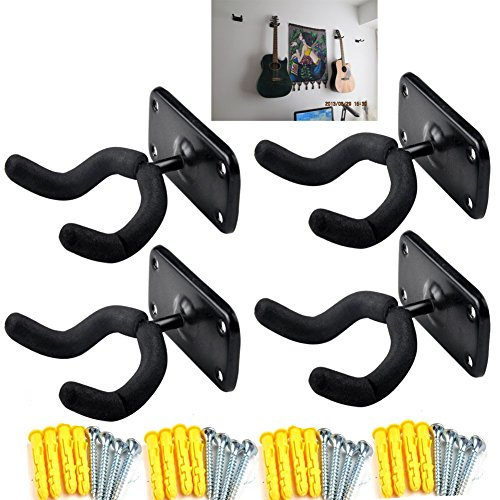 Mike Home Wall Mounted Guitar Hook Guitar Display Bracket Fits Guitars,Bass,Ukulele Pack of 4 (Square - Wall Guitar Hanger