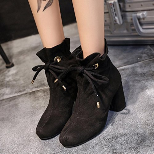 LuckyBB Women Boots, Outdoor Lace-up Square Heel Casual Ankle Boots Black