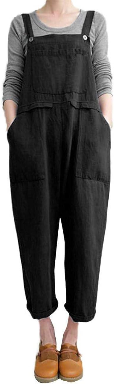 SportsX Womens Plaid Pockets Wide Legs Plus-Size Baggy Suspender Pants