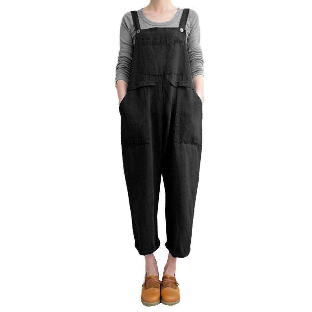 Women's Strappy Jumpsuits Overalls Casual Cotton Linen Harem Pants Wide Leg Low Crotch Loose Trousers Backless Playsuit (Black, M)