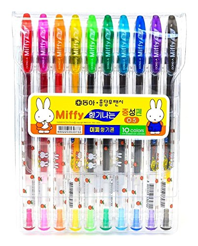 Dong-A Miffy Bunny Gel Ink Scented Rollerball Pens, 0.5mm, 10 Color Set]()