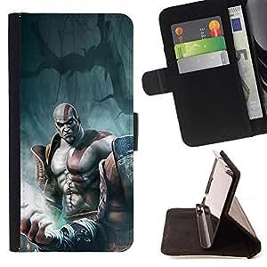 BullDog Case - FOR/Apple Iphone 6 / - / God War Warrior /- Monedero de cuero de la PU Llevar cubierta de la caja con el ID Credit Card Slots Flip funda de cuer